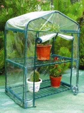 Greenhouse rectangular with 2 shelves